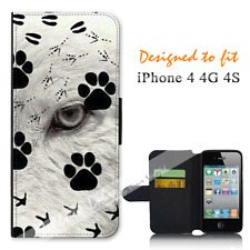 Apple iPhone 4 4G 4S Wallet Flip Phone Case Cover Wolf Tracks Art Y00947