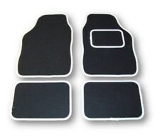 UNIVERSAL CAR FLOOR MATS BLACK WITH WHITE TRIM - VAUXHALL ASTRA SXi ALL MODELS