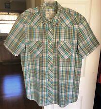 Men's CANYON RIVER BLUES Short Sleeve Plaid Pearl Snap Western Shirt Size L