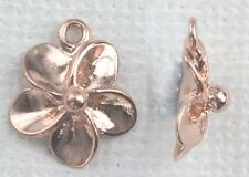 Vermeil Sterling Silver Rose Gold Plated Charm Pendant Flower x 1