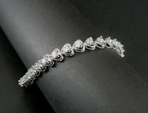 Hearts with Cubic Zirconia Stones Link Sterling Silver 925 Tennis Bracelet