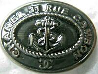 CHANEL BLACK DARK SILVER  CC LOGO FRONT AUTH METAL BUTTON TAG 16 x 11 MM emblem