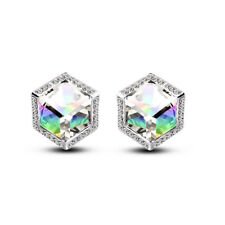 Rainbow Effect AB White Crystal Shiny Women Girl Party Prom Bridal Earrings