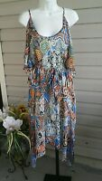 BETHANY Dress Cold Shoulder Asymmetrical Long Chiffon Lined Belted Plus NWT$89