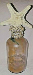 Vintage Handmade Bottle Art Starfish Shell Stopper Mrs. Stewart's Liquid Bluing