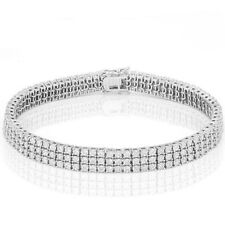 LOVELY 13 2/5 CARAT CREATED DIAMOND 925 STERLING SILVER 3 ROW TENNIS BRACELET