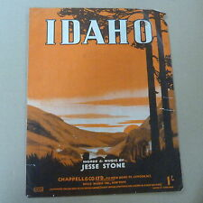 Song Sheet Idaho Jesse Stone 1942