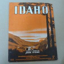 Song Sheet Idaho Jesse Stone 1942