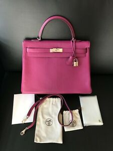 100%AUTH HERMES 35CM Kelly Tosca Pink Leather Bag Palladium Hardwares