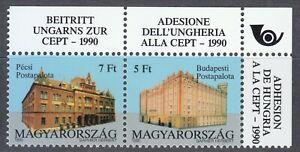 Hungary 1991 MNH Mi 4131-4132 Sc 3285a pair Post Offices,Budapest & Pecs ** GEM