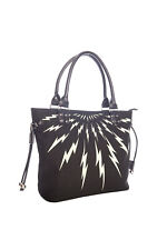 Women's Black Gothic Punk Rockabilly Thunderbolt Tote Handbag Bag Banned Apparel