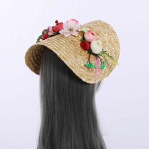 Women Hat Straw Bonnet Girls Tea Party Straw Hat Floral Flat Victorian
