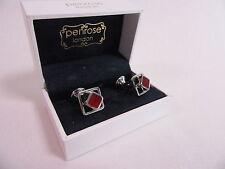 Penrose of London Designer Cufflinks Apollo Silver & Red Enamel RRP £135 #CL23