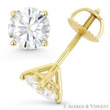 Round Cut Forever Classic Moissanite 14k Yellow Gold 4Pr Screwback Stud Earrings