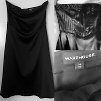 WAREHOUSE Black Satin Bandeau Beaded Pleated Corset Ball Gown Prom Dress Size 14