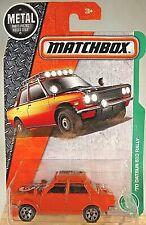 2017 Matchbox #94/125 MBX Explorers '70 DATSUN 510 RALLY Orange w/6 Spoke Wheels