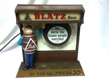 Blatz beer sign lighted back bar cast iron statue barrel guy margue light metal
