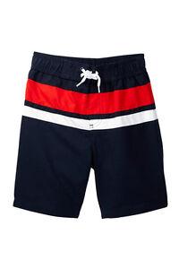 Joe Fresh Big Boy's Navy Blue Red White Swim Shorts Trunks Mesh Lined S M L