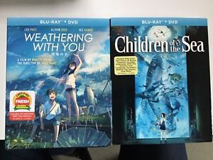 GKIDS Shout Factory 2 Blu Ray Lot- Weathering With You/ Children of the Sea! New