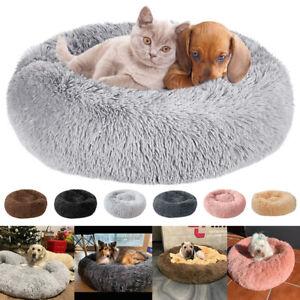 Plüsch Hundebett Katzenbett Hundekorb Hundekissen Schlafplatz Rund Donut S-XL