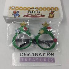 Festive Christmas Novelty Tree Oversize Style Glasses Glitter Pom Poms NIP