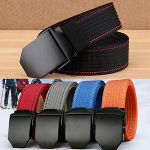 """1.5"""" Wide Mens Nylon Webbing Belt Durable Metal Flat Buckle Sports Trousers Belt"""