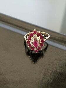 Red Ruby & Diamond Cluster Ring 14K Yellow Gold  size 4.5