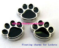 10pcs Black Paw Footprint Floating charms For Glass living memory Locket FC004