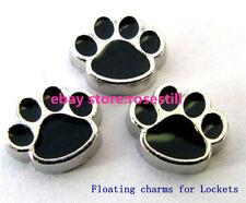 10pcs Black Paw Footprint Floating charms For Glass living memory Locket FC004