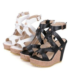 Women's Synthetic Leather Buckled Slingbacks Sandals Platform Wedge Heel Shoes