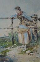 Gian Carlo POLIDORI (XIX-XX) Italian  Watercolour Rural Lady Having a Rest