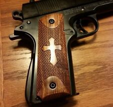 Full Size 1911 Caribbean Rosewood Grips w/ Engraved Cross