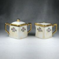 Weimar Porcelain Cream & Lidded Sugar Pink Yellow Gold Blossoms Art Deco Square