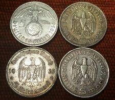 L'Allemagne Nazi 5 reichsmark hindenburg .900 4 pièces en argent 604