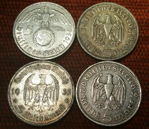 Germany Nazi 5 Reichsmark Hindenburg .900 4 Silver Coins 604