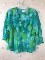 Versailles Women's Blouse Top Floral Multi Color Sz Medium