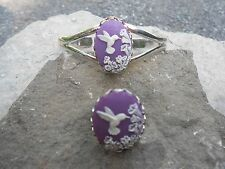 CAMEO BRACELET AND RING SET- (HUMMINGBIRD on PURPLE)  WONDERFUL QUALITY