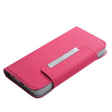 iPhone 5 5S SE BOOK-STYLE WALLET FLIP POUCH CASE COVER PINK BALL TEXTURE FABRIC