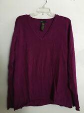 Grace Elements Bougainvillea Purple Women V-Neck Sweater Size XL