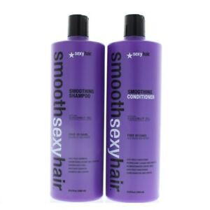 Sexy Hair Smoothing Anti Frizz Shampoo and Conditioner w Coconut Oil 33.8oz Duo