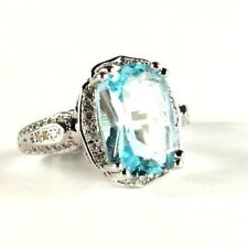 Blue Aquamarine Topaz simulated gemstone ladies silver ring size 8.5 R*15661