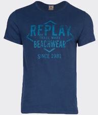 Replay Men's Beachwear Crew Neck T Shirt Blue Small