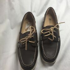 White Mountain Brown Leather Traditional Boat Shoes Women's Size 10