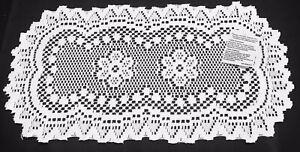 "8"" X 14"" Heritage Lace Doilies White Alpine Heart & Flower Pattern Bedroom"