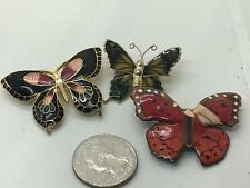 Vintage Gold Pin Brooch D-4597 Lot of 3 Butterflies Enamel