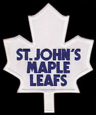 """ST. JOHN'S MAPLE LEAFS AHL HOCKEY 9.5"""" WHITE FRONT PATCH FOR AWAY BLUE JERSEY"""