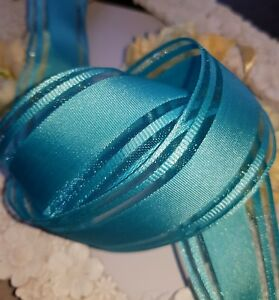 """2M  WIRED WIRE EDGED ORGANZA & SATIN AQUA TURQUOISE BANDED  RIBBON -  1.5"""""""