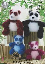 KING COLE 9059 TINSEL CHUNKY PANDA ORIGINAL KNITTING PATTERN - 1ST CLASS POST