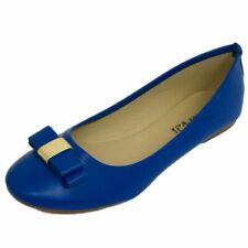 LADIES FLAT BLUE SLIP-ON WORK SCHOOL DOLLY BALLERINA BALLET PUMPS SHOES UK 3-8