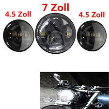 7'' LED Haupt Scheinwerfer+ 2x 4,5'' LED Zusatzscheinwerfer E-Geprüft für Harley